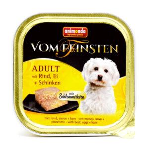 غذای مخصوص سگ کاسهای ووم فیستن مغزدار حاوی گوشت گاو، تخم مرغ و گراز