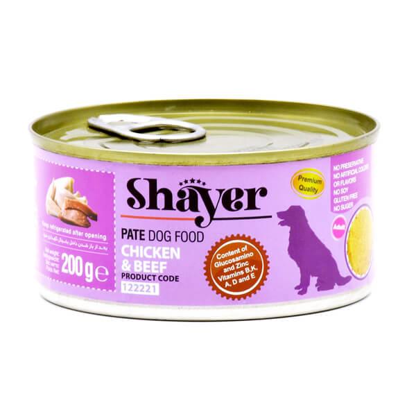 کنسرو سگ شایر با طعم مرغ و گوشت قرمز کد 122221
