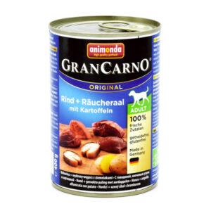 کنسرو سگ کارنو حاوی گوشت گاو و مارماهی وسیب زمینی دودی