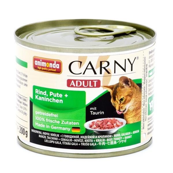 کنسرو گربه بالغ کارنی حاوی گوشت گاو، بوقلمون و خرگوش