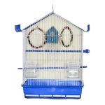 قفس پرنده فانتزی تاشو مدل کلبه ای لبه دار آبی رنگ کد605 برند میگ میگ پت