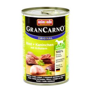 کنسرو سگ گرن کارنو حاوی گوشت گاو و خرگوش و سبزیجات تازه