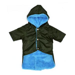 کاپشن بارانی مخصوص سگ با کد S23 با رنگ مشکی و خز آبی رنگ