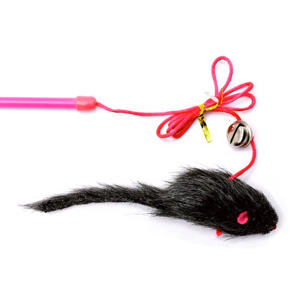 اسباب بازی گربه مدل چوب بازی مخصوص گربه همراه با موش خاکستری