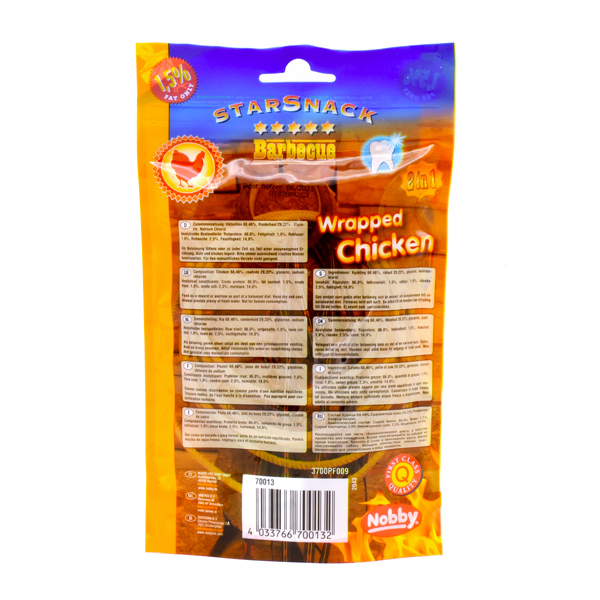 غذای تشویقی سگ میوه ای استار اسنک با دورپیچ مرغ 70 گرمی
