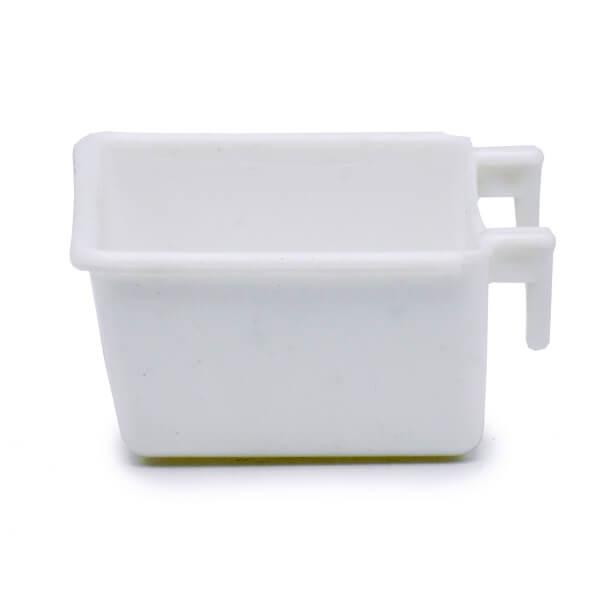 دانخوری و غذاخوری چهارگوش سفید با قابلیت نصب آسان روی قفس