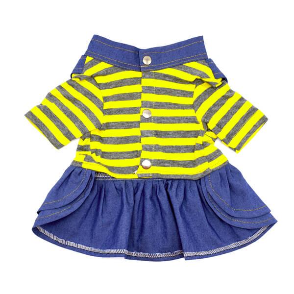 لباس مخصوص سگ کد L118 راه راه زرد و خاکستری با دامن آبی