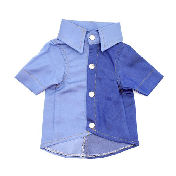 لباس سگ کد L142 طرح پیراهن مردانه