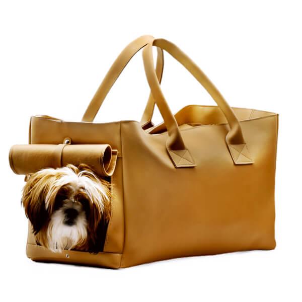 کیف حمل سگ چرمی کد 105 قهوه ای با قابلیت حمل کولی