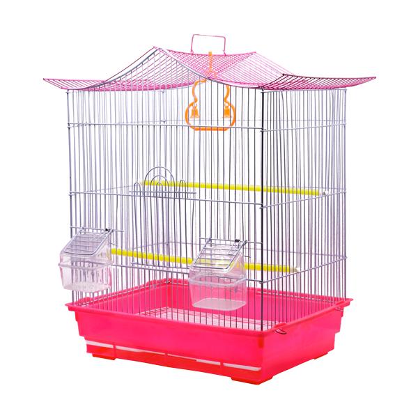 قفس پرنده کد 602 با رنگ سفید و قرمز ساخته شده از پلاستیک با کیفیت دارای دانخوری و دستگیره برای حمل آسان