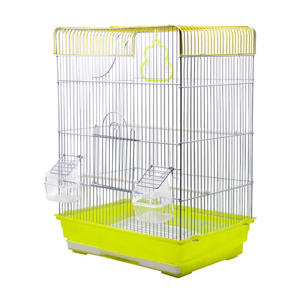 قفس پرنده کوچک کد 606 زرد رنگ دارای تاب و دانخوریبا کفی پلاستیکی مقاوم زرد