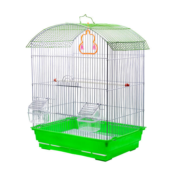 قفس پرنده مخصوص طوطی سانان کوچک با سقف گنبدی مانند و کفی پلاستیکی مقاوم سبز رنگ محصولی دیگر از پت شاپ آنلاین میگ میگ پت