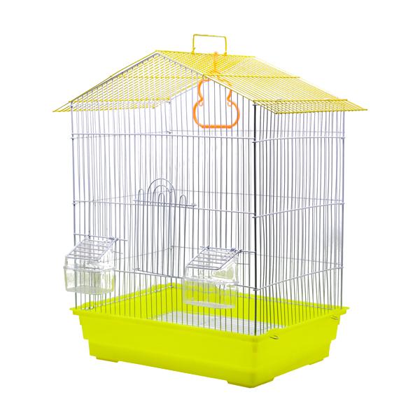 قفس مخصوص طوطی سانان کوچک کد 605 به رنگ زرد با طراحی جذاب سقف به شکل شیروانی