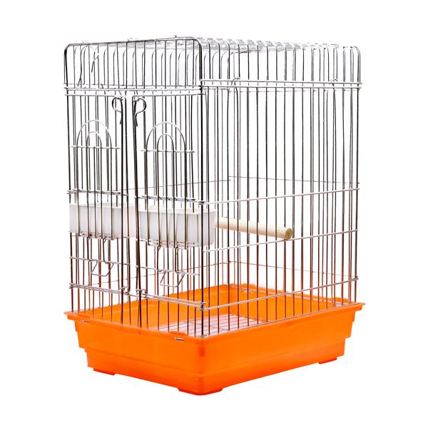 قفس پرنده مخصوص مرغ مینا کد 621 نارنجی با جنس بدنه گالوانیزه و کفی پلاستیکی مقاوم دارای دانخوری