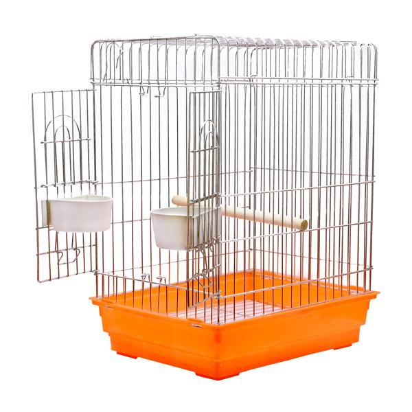 خرید اینترنتی قفس پرنده مخصوص مرغ مینا کد 621 نارنجی با جنس بدنه گالوانیزه و کفی پلاستیکی مقاوم دارای دانخوری