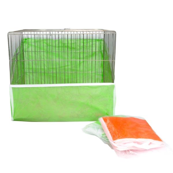 کاور قفس مدل پشتدار سایز متوسط میگ میگ پت با رنگ بندی نارنجی و سبز