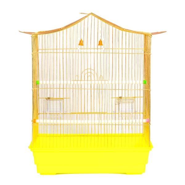 قفس پرنده رنگ طلایی با کفی زرد رنگ کد 602 برند میگ میگ پت