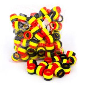 حلقه پای کبوتر سه رنگ کد H16 با رنگ قرمز و زرد و مشکی