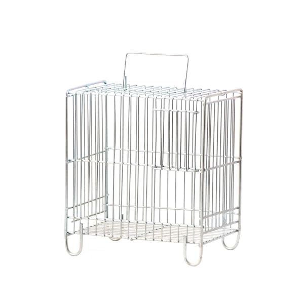 قفس سفید مخصوص حمل پرنده سایز کوچک از جنس گالوانیزه