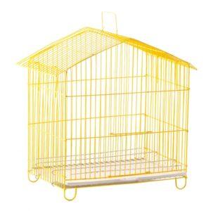 خرید قفس پرنده تاشو سایز کوچک کد 10 از جنس فلز با روکش رنگ استاتیک زرد
