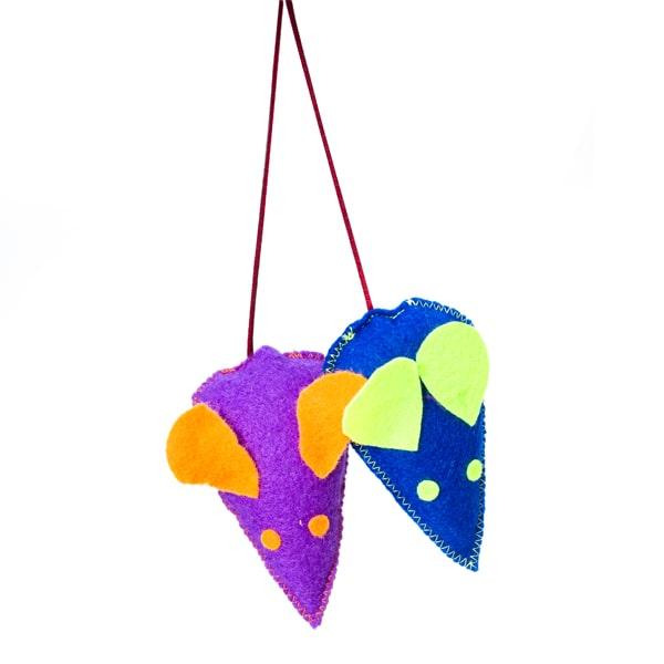 اسباب بازی گربه مدل موش تخت کد CT110 از جنس نمد در رنگ های آبی و بنفش