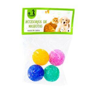 توپ پلاستیکی براق 4 عددی سگ و گربه کد 237 برند میگ میگ پت