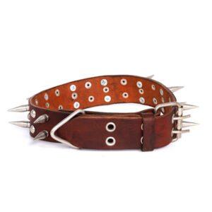 قلاده گردنی چرم طبیعی تک لایه مخصوص سگ مدل 20میخ