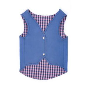 لباس سگ و گربه طرح جلیقه کد 106 دکمه دار رنگ آبی طرح جین