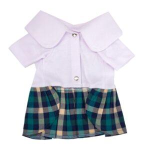 لباس سگ دخترانه طرح دامن دار کد 120 با دامن چهارخونه و پیراهن سفید